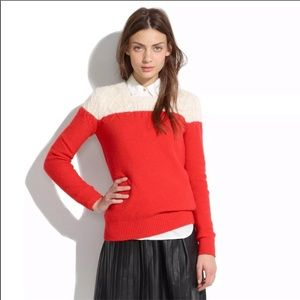Madewell Color Block Cable Knit Sweater